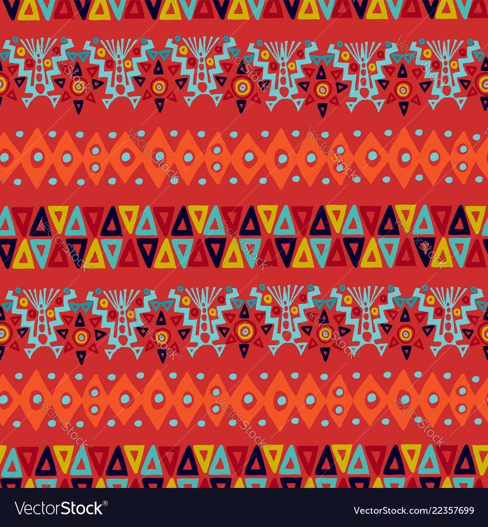Ethnic abstract tribal boho seamless pattern art
