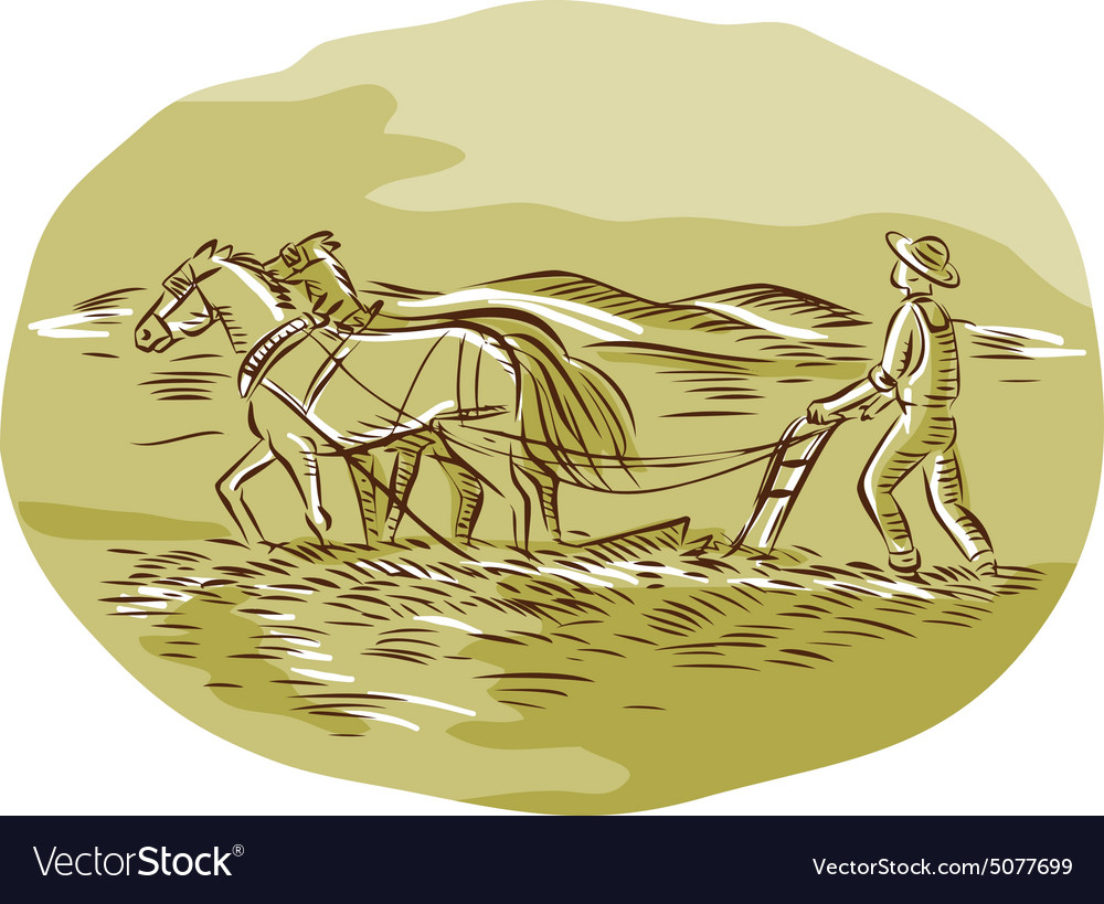Farmer and Horses Plowing Field Oval Etching vector image