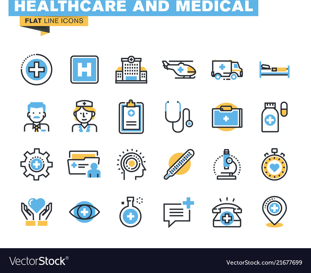 Flat line colorful icons collection healthcare