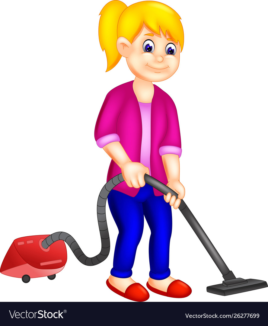 Funny Girl With Vacuum Cleaner Cartoon Royalty Free Vector