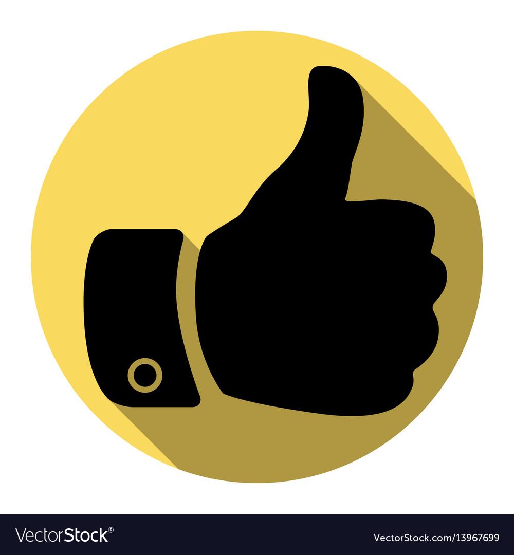 Hand sign flat black icon