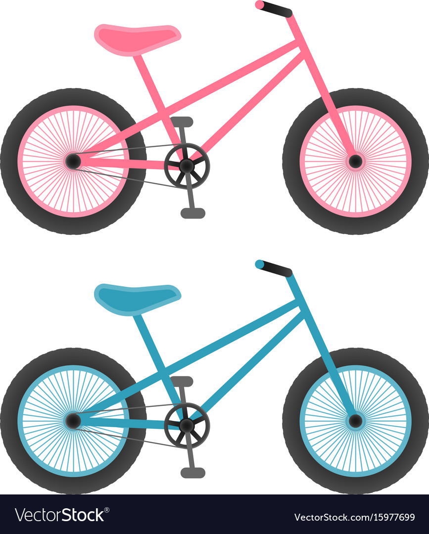 Pink And Blue Bicycles For Kids Isolated On A Vector Image