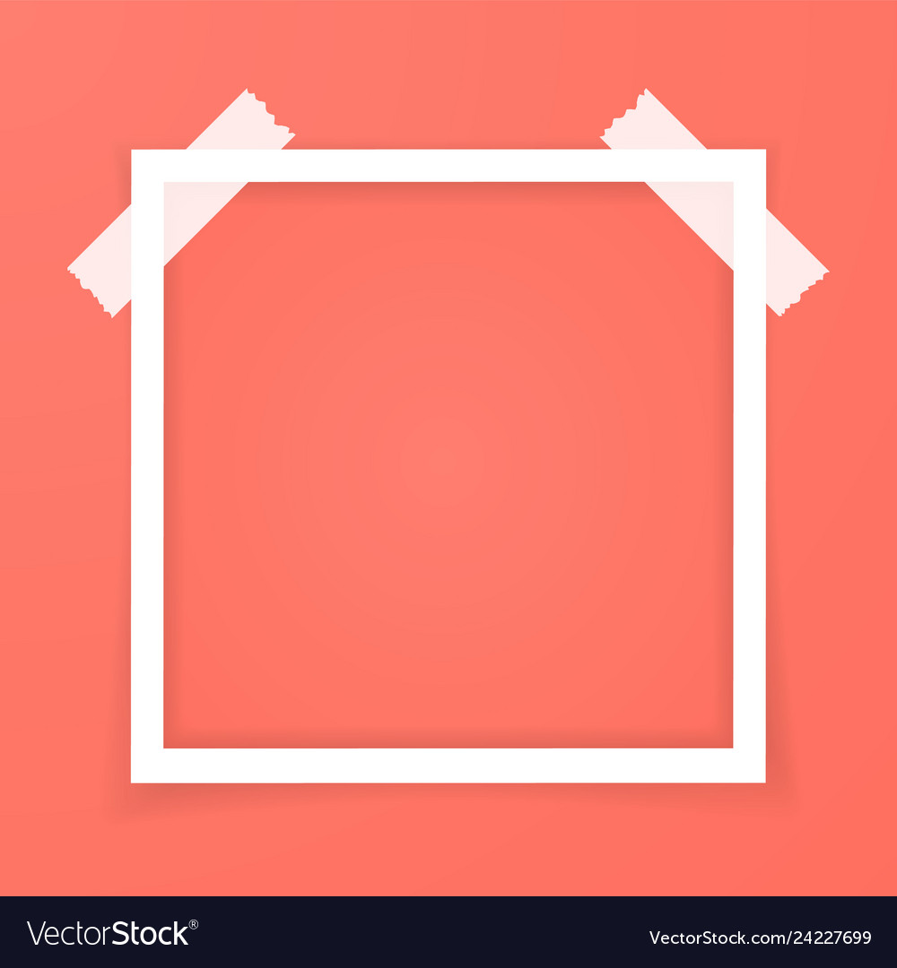 Retro pink photo frame with shadows