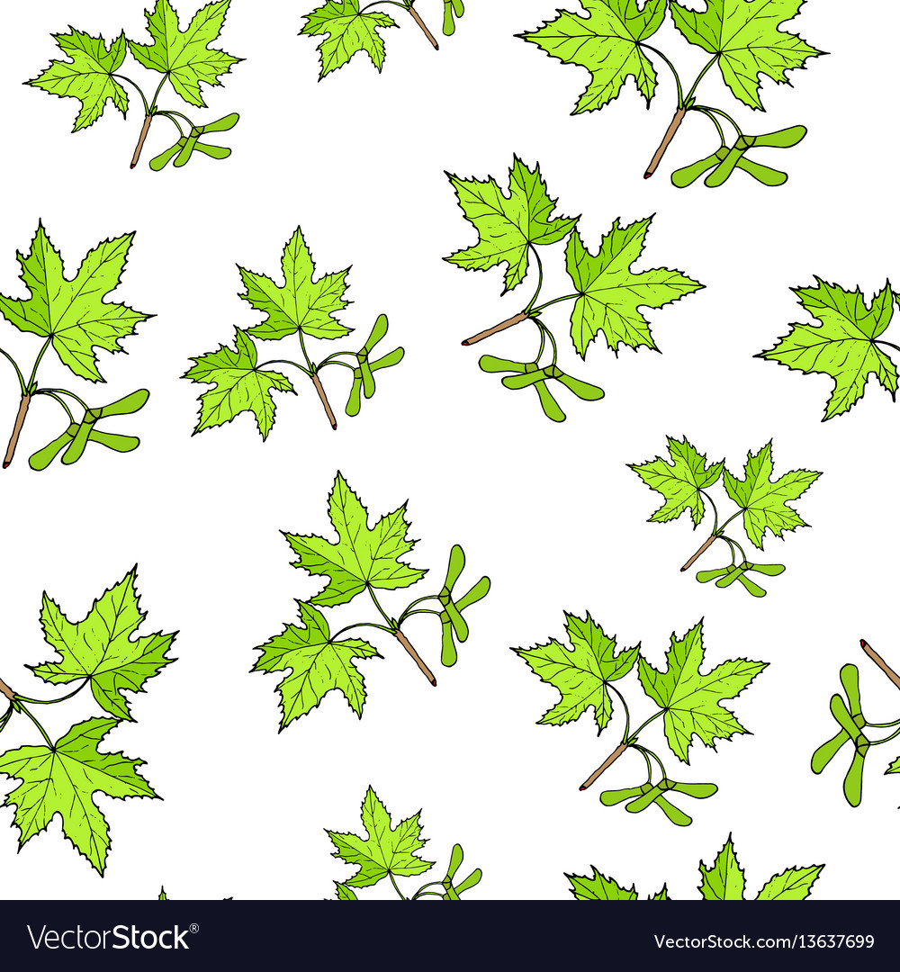 Seamless pattern with hand drawn tree