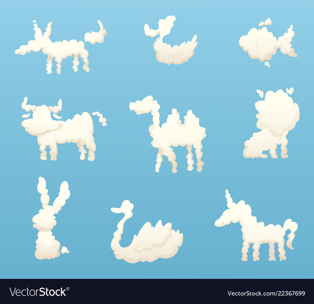 Shapes of animal clouds different funny cartoon