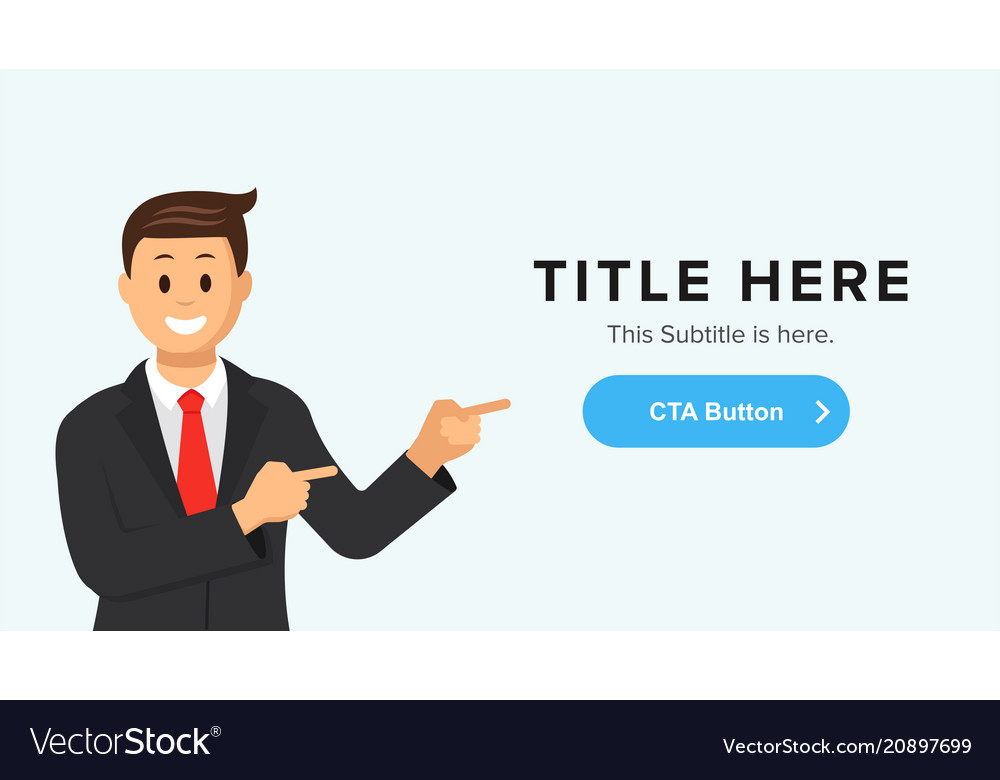 Site banner template with a man pointing at