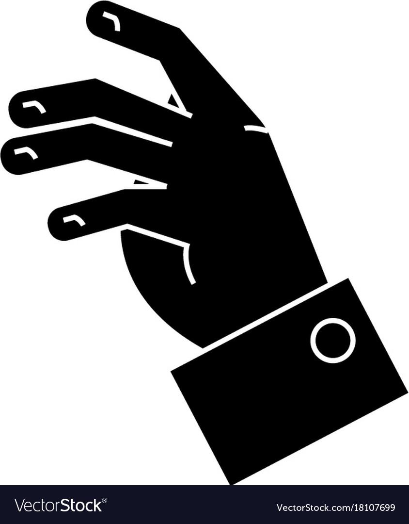 Taking hand icon black sign