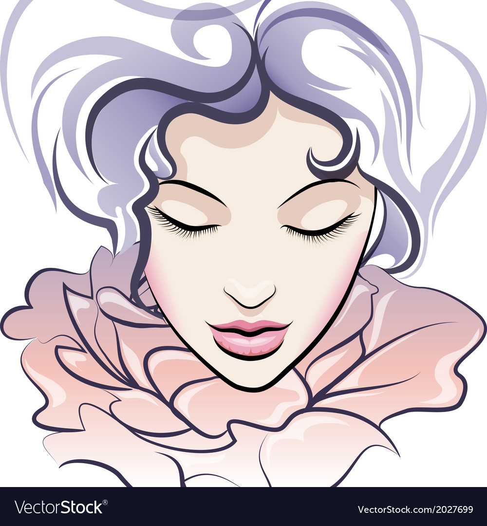 The flower face vector image
