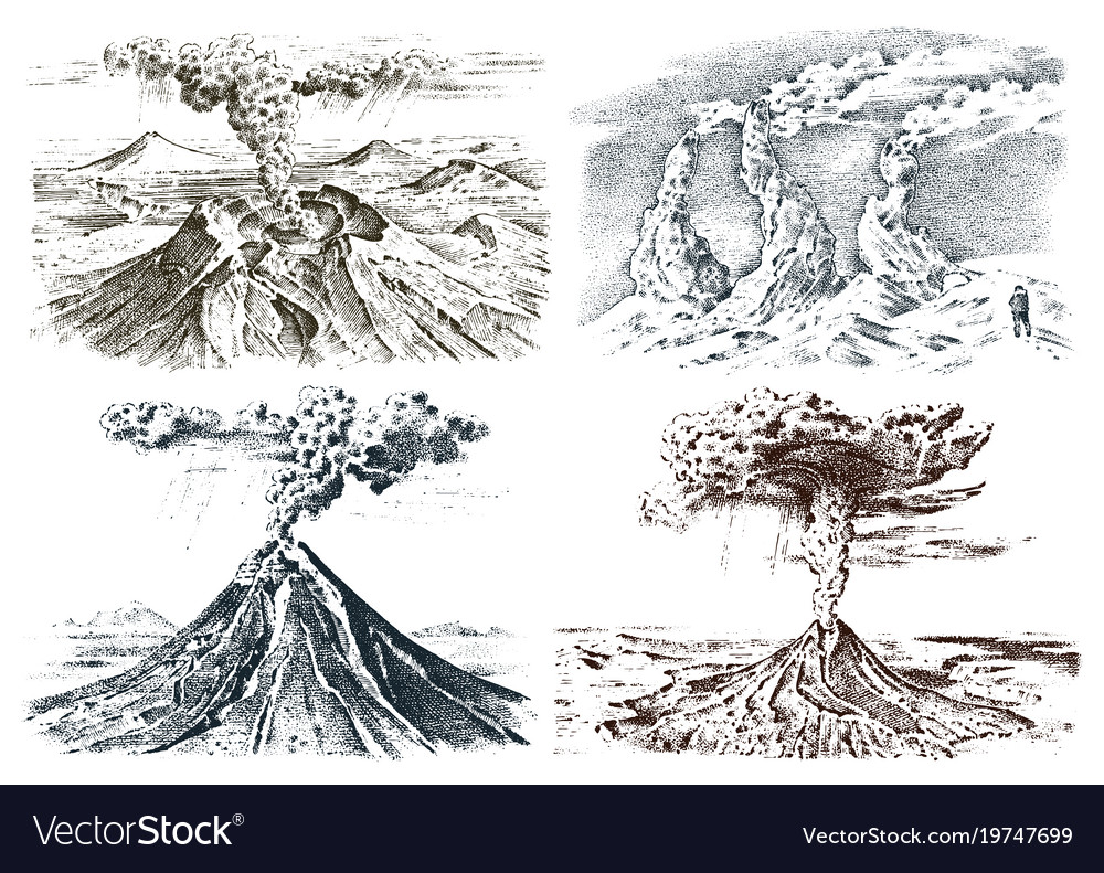 Volcano activity with magma smoke before the