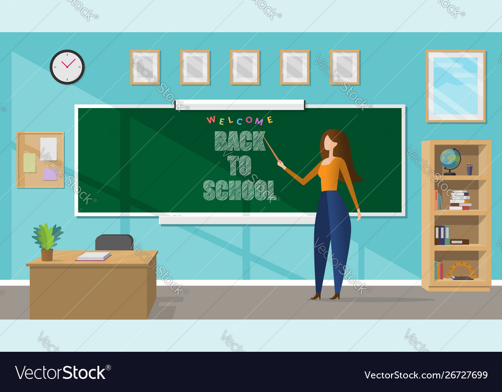 Young female teacher in a classroom