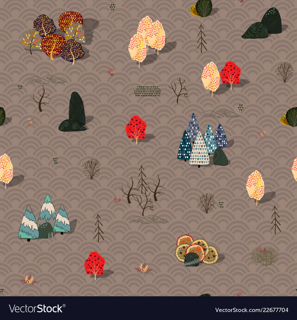Background with stylized autumn trees forest