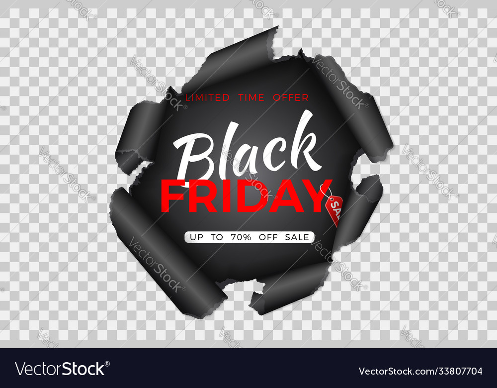 Black friday sale banner with torn paper