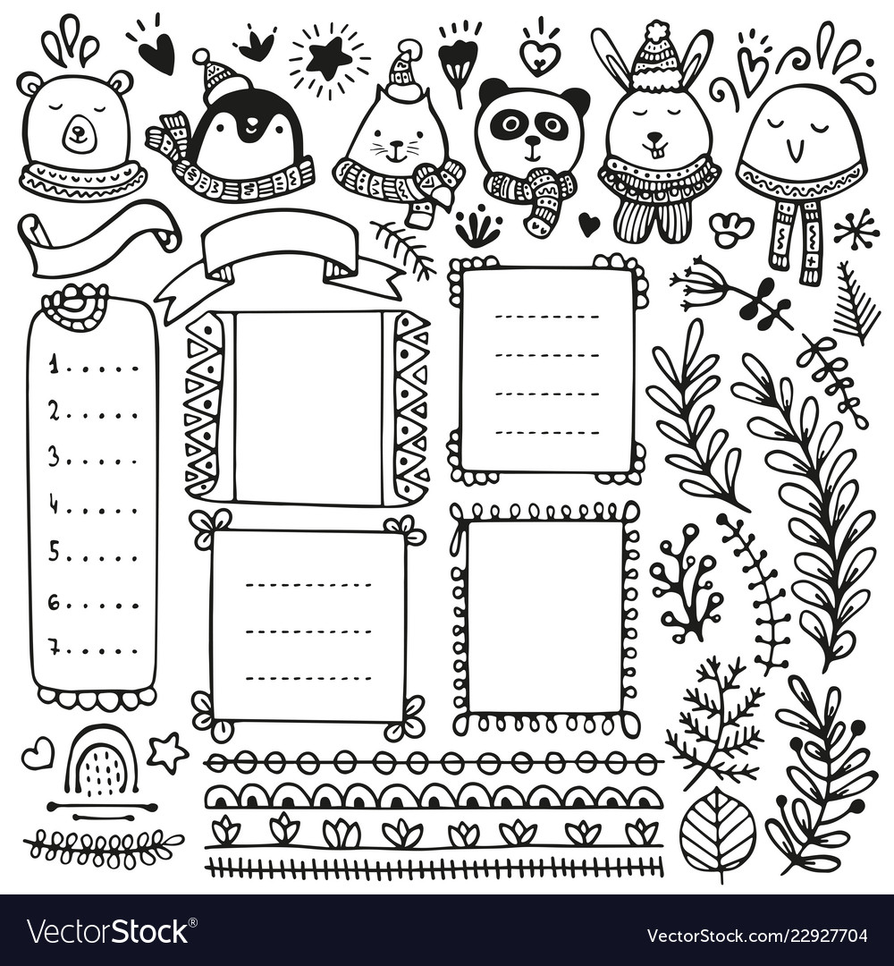 Bedwelming Bullet journal and winter doodle elements Vector Image &TX49