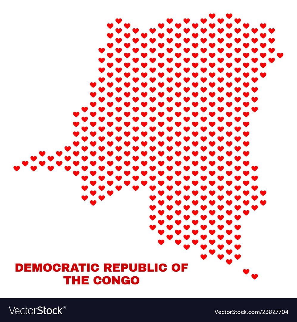 Democratic republic of the congo map - mosaic of