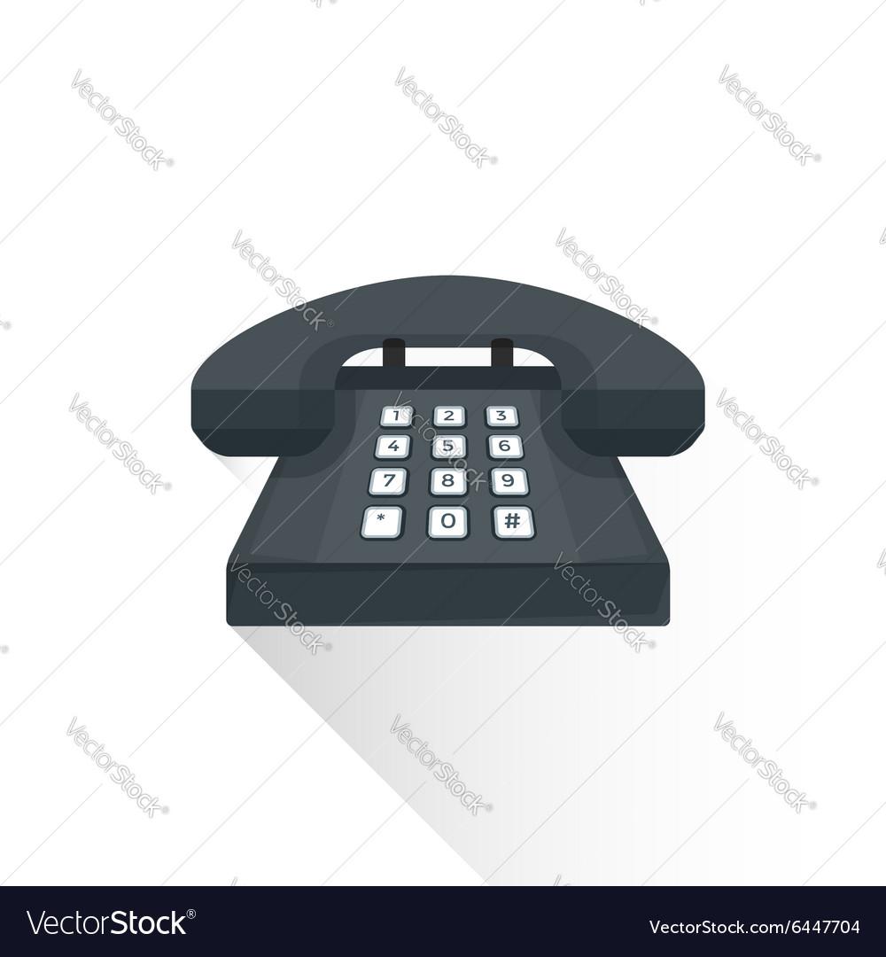 Flat style retro black landline buttons phone icon