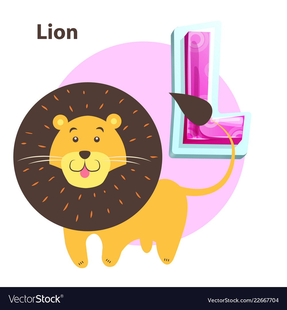 Lion for l letter in english alphabet for children