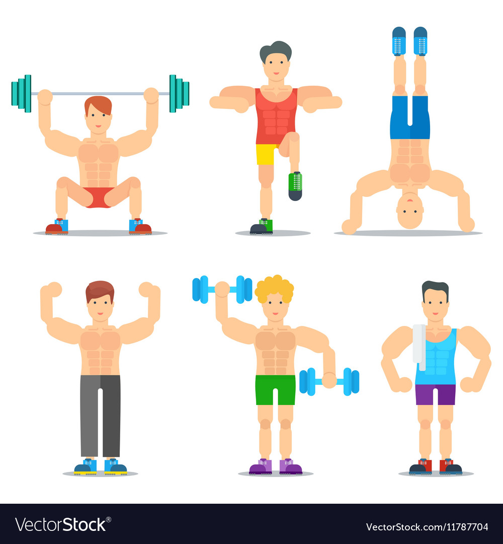 Men Fitness Cartoon Icons Collection