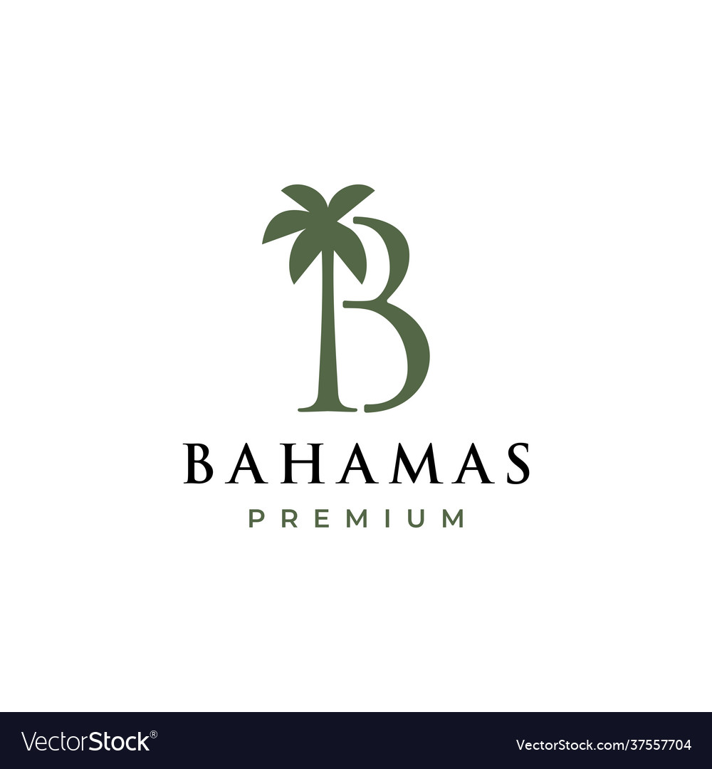 Palm tree b letter mark logo icon