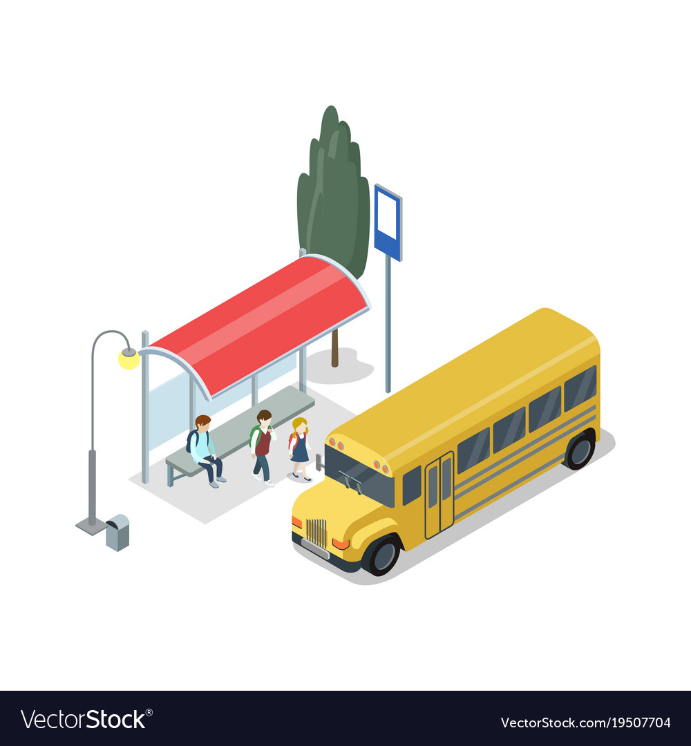 School bus stop isometric 3d icon