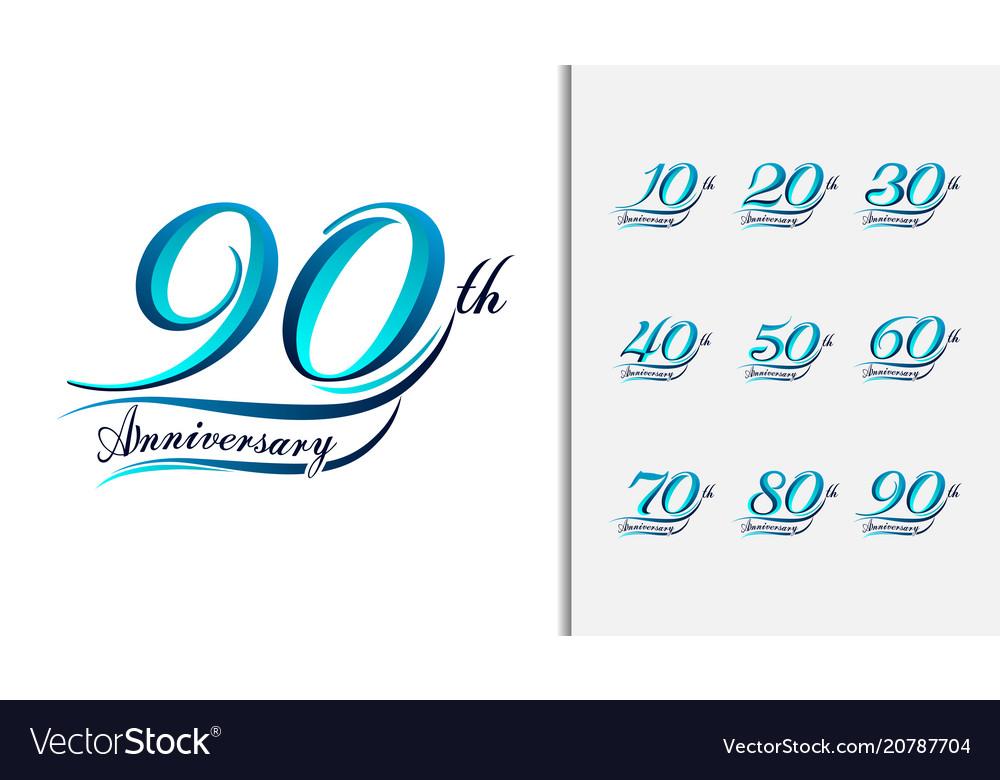 Set of anniversary calligraphic and typographic