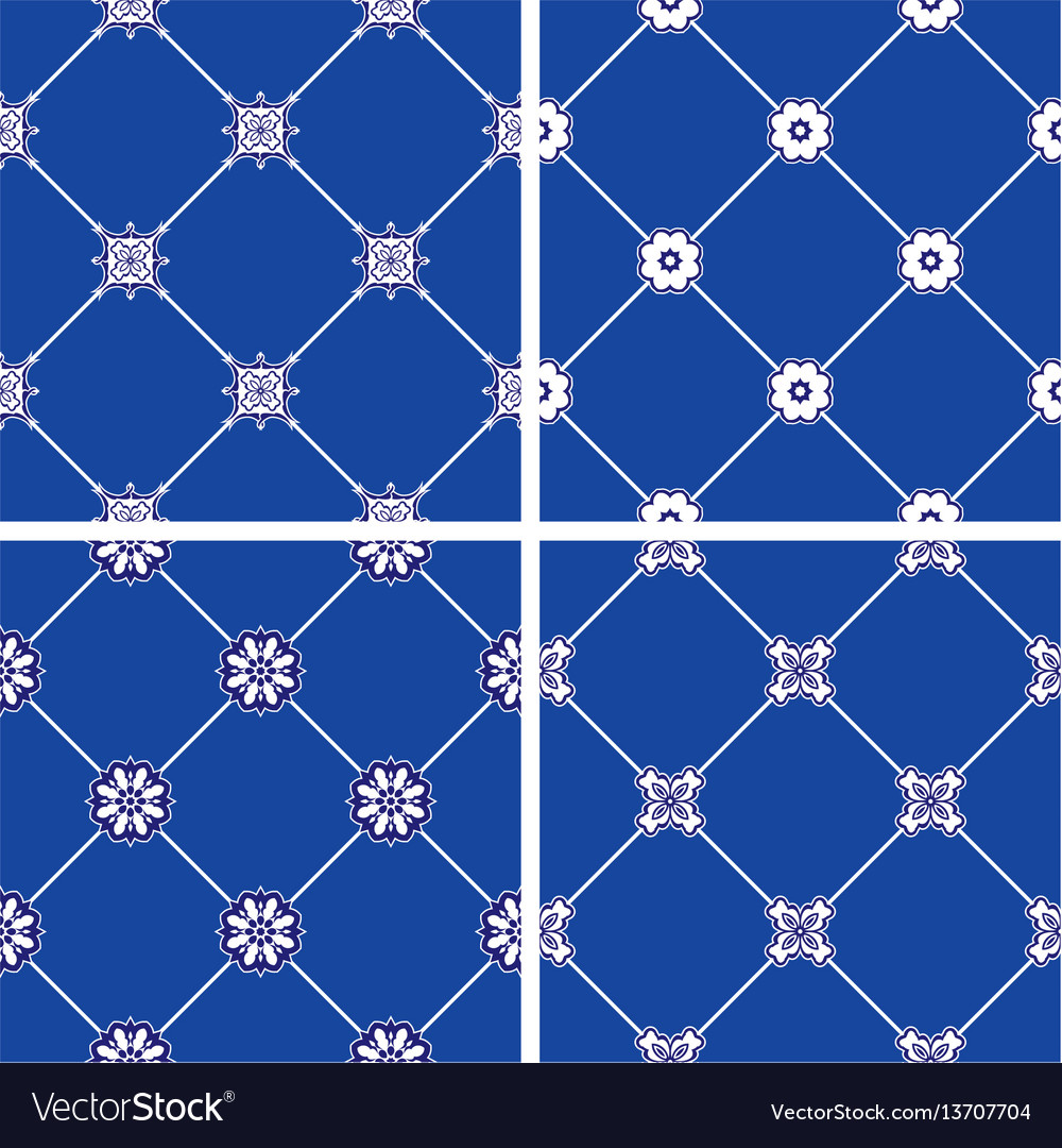 Set of seamless patterns - blue and white ceramic