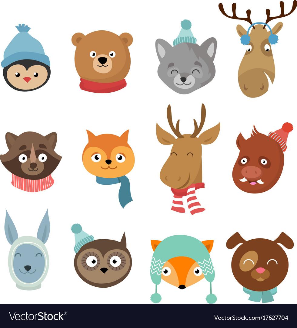 Winter xmas happy animals cartoon characters