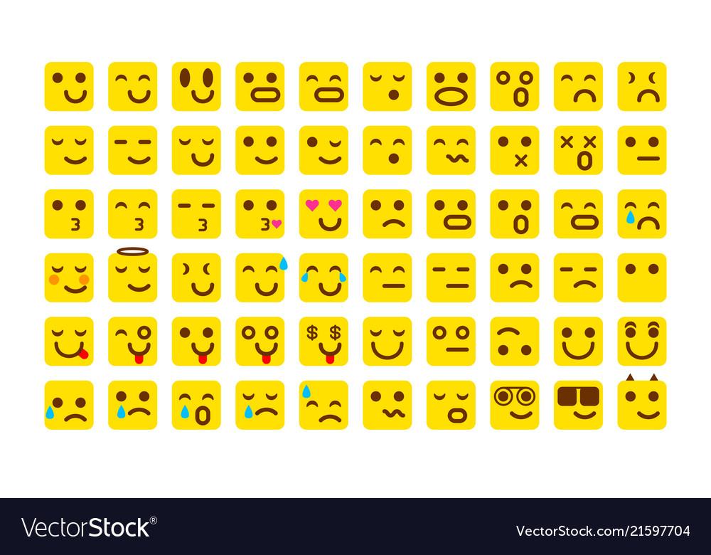 Yellow set of smile icons emoji emoticons face
