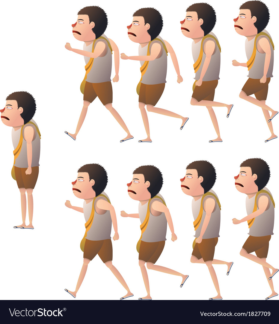 Boy walk cycle view side vector image