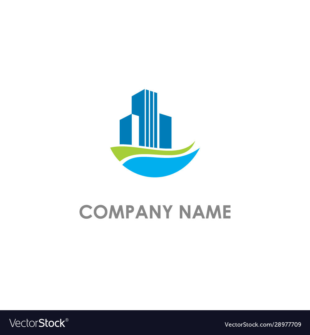 Building realty water wave logo