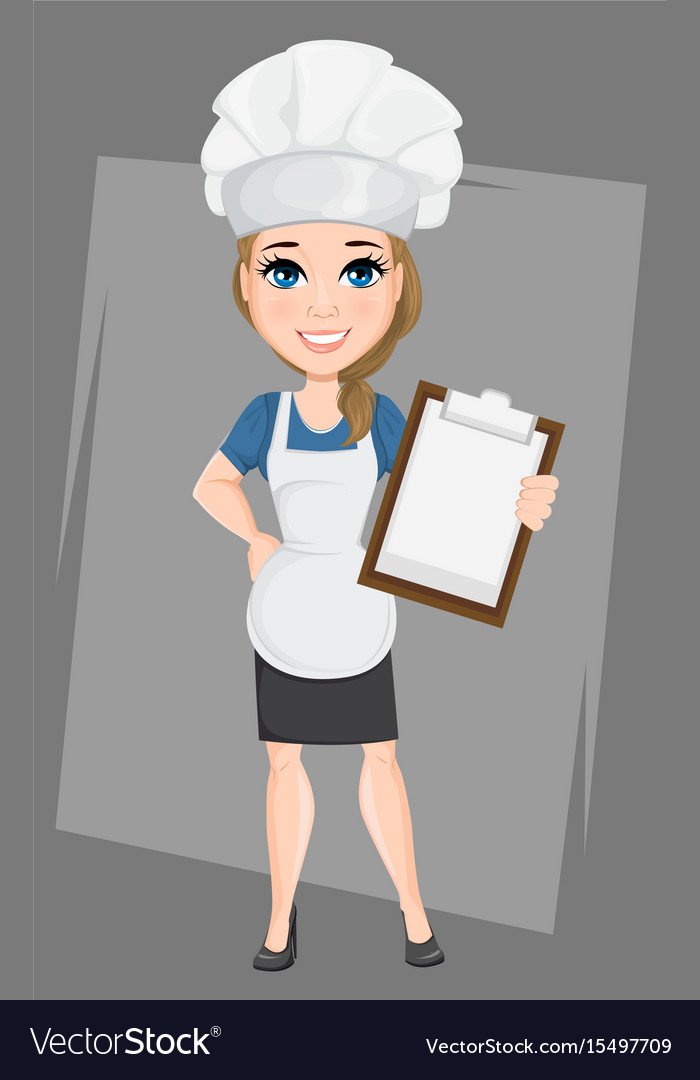 Chef woman holding clipboard cute cartoon