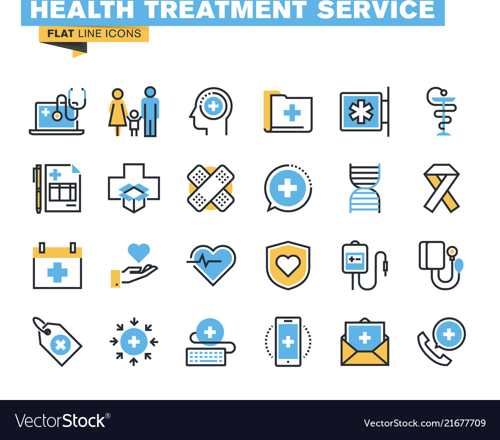 Flat line colorful icons collection of healthcare