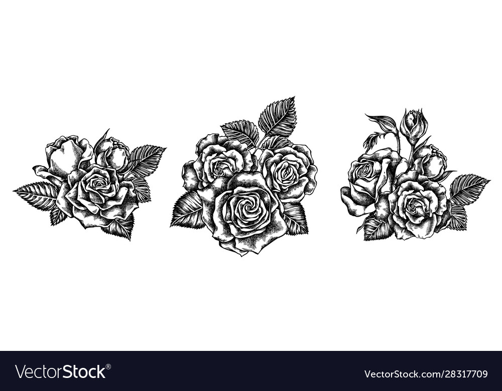 Flower bouquet black and white roses