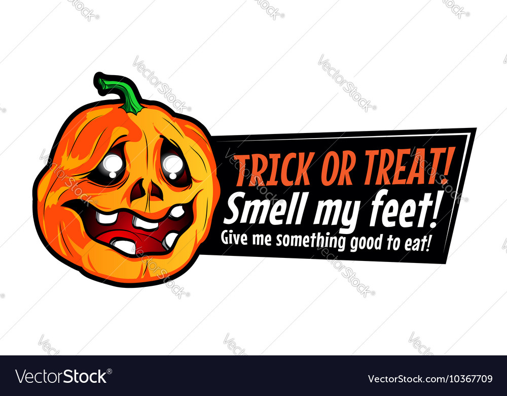 Halloween pumpkin sticker with funny text