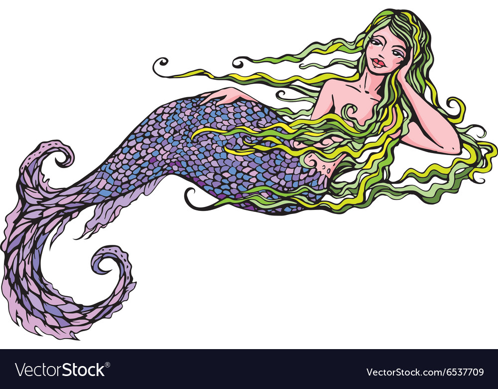 Hand drawn of a Beautiful mermaid girl isolated