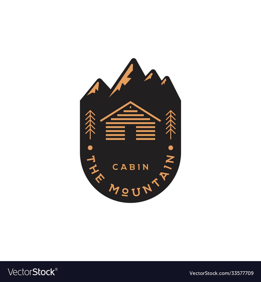 Mountain cabin emblem logo design template