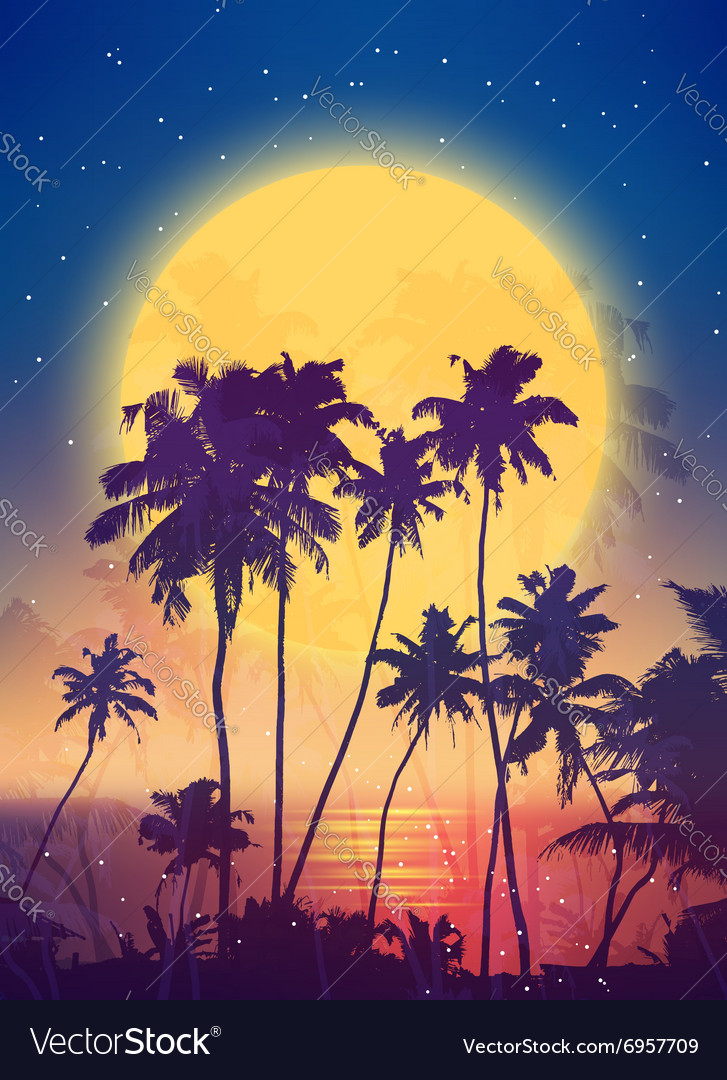 Retro style full moon rise with palm silhouettes