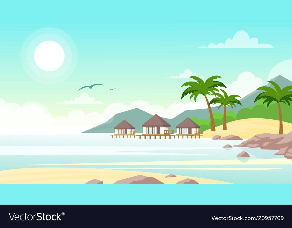 Sea beach with hotel