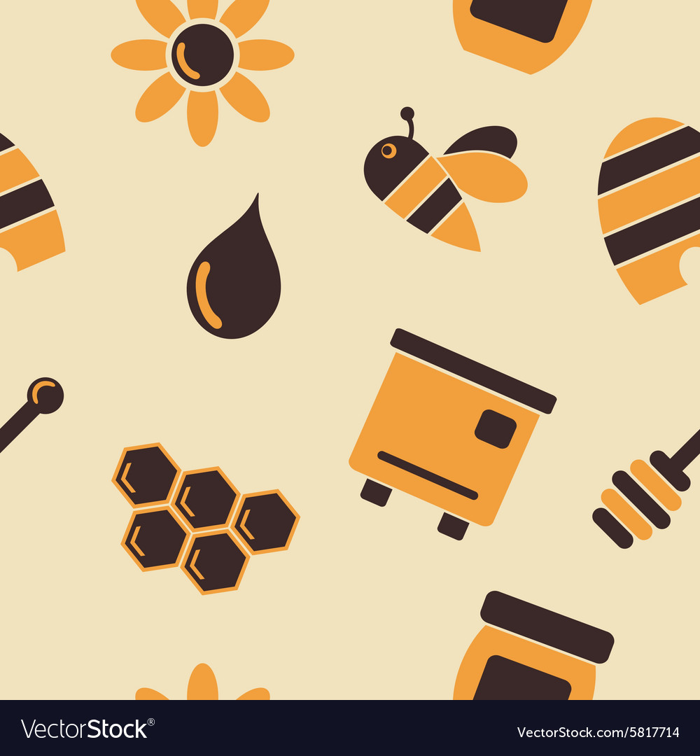 Abstract seamless background with bees and honey