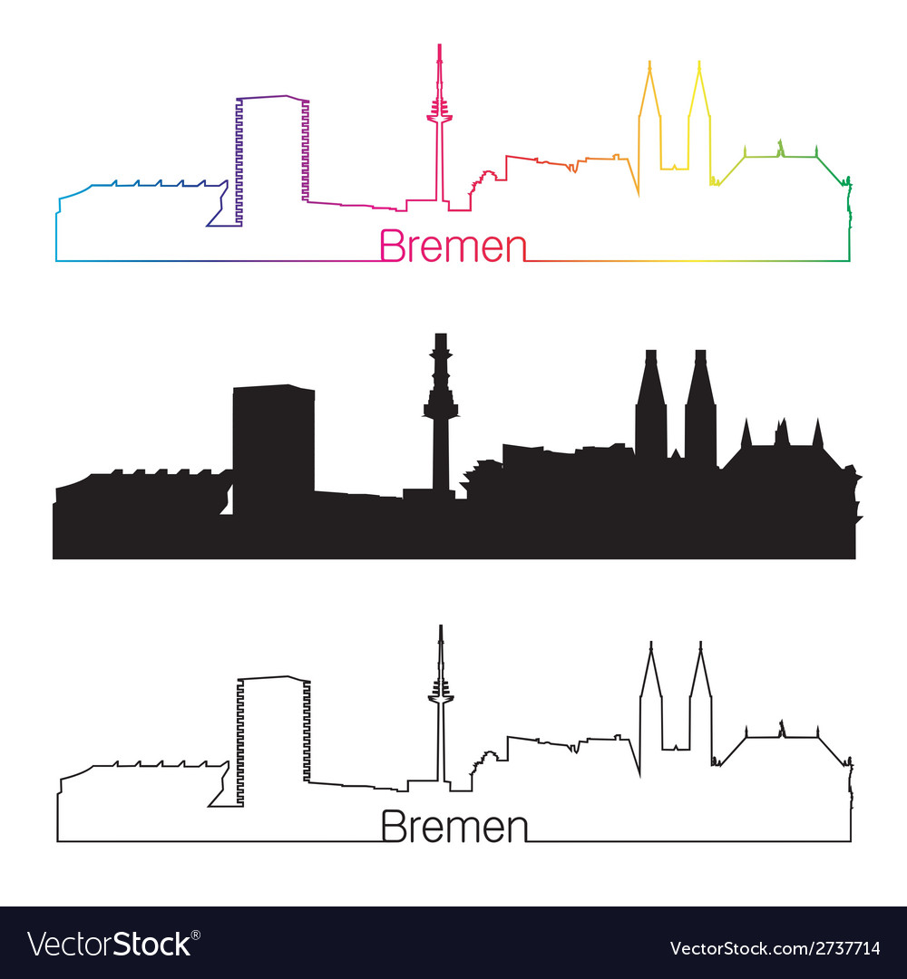 Bremen skyline linear style with rainbow