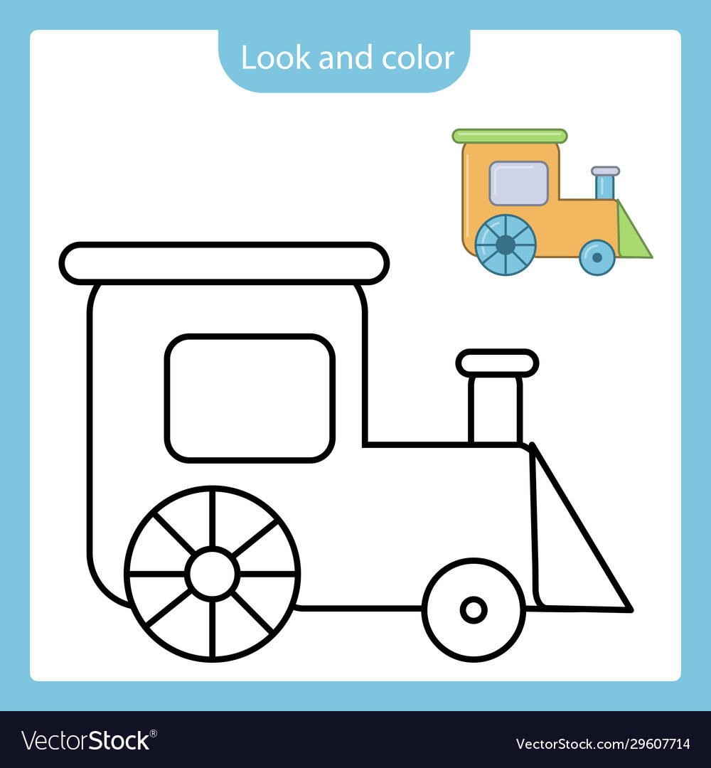 Coloring page outline train toy with example Vector Image