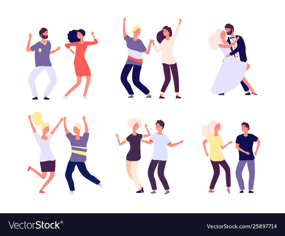 Dancing couples happy persons dance salsa tango