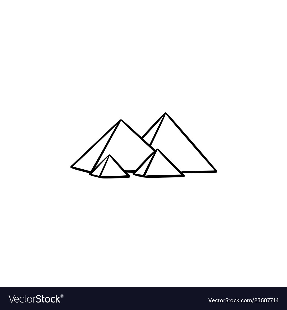 Egypt pyramids hand drawn outline doodle icon