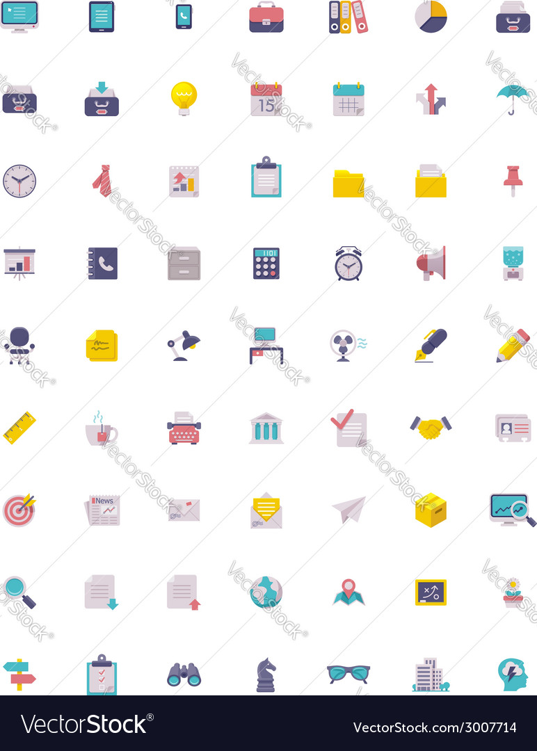 Flat business and office icon set