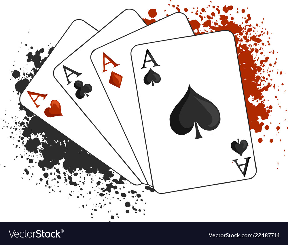 Four Aces Poker Playing Cards On White Royalty Free Vector