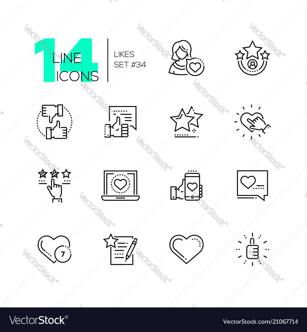 Likes - set line design style icons
