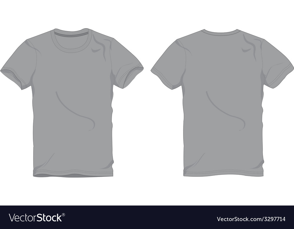 men gray round neck t shirt template royalty free vector. Black Bedroom Furniture Sets. Home Design Ideas