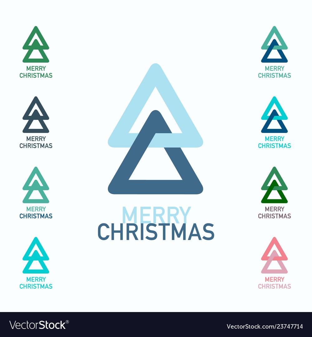 Merry christmas symbols set xmas trees logo icons