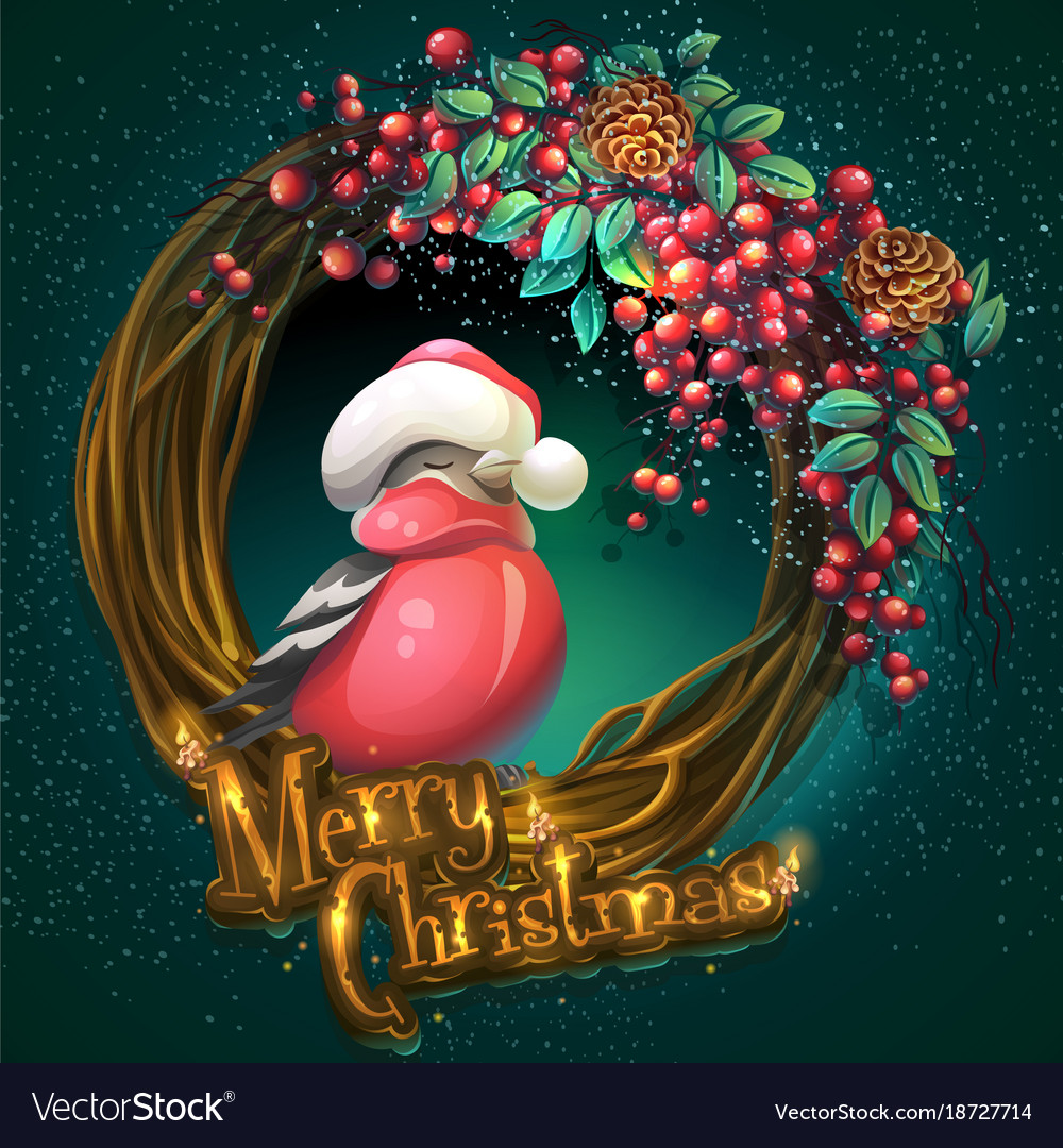 Christmas Vines.Merry Christmas Wreath Of Vines Ash Berry And