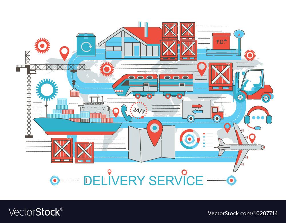 Modern Flat thin Line design Delivery logistics