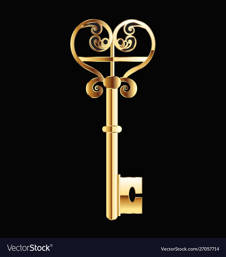 Old gold key vintage logo image